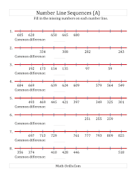 increasing and decreasing number line sequences with missing