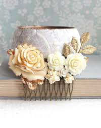 gold ivory cream bridal hair comb vintage style romantic country