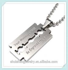 meaning necklace images Custom engraved personalized cheap wholesale stainless steel razor jpg