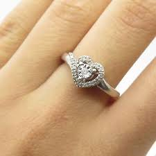diamond heart ring sun 925 sterling silver real diamond heart engagement ring size 6