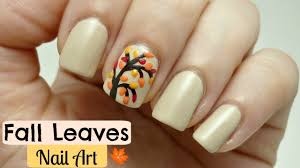 easy fall leaves nail art design youtube