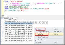 rename table name in sql how to change multiple data table names in sql server codeease com
