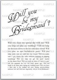 bridesmaid card wording custom printable will you be my bridesmaid or of honor card