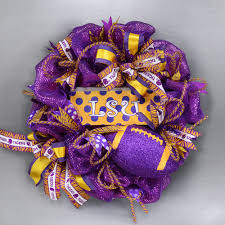purple u0026 gold tiger stripe football wreath with lsu accent sign