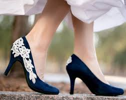 wedding shoes low heel pumps navy blue heels etsy