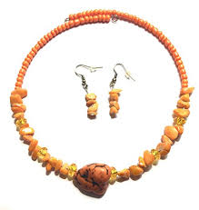 orange beaded necklace images Marble stone beaded choker necklace earrings set jpg