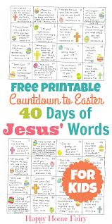 countdown to easter 40 days of jesus u0027 words for kids free