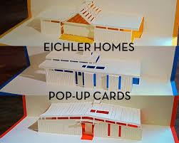 mid century modern eichler homes pop up greeting cards set of