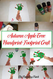 autumn apple tree handprint footprint craft parenting patch