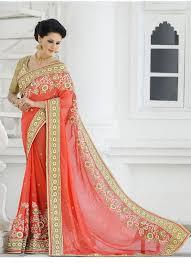 sari mariage sari indien orange georgette sari mariage saris