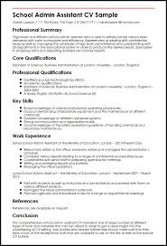 resume exles for assistant school admin assistant cv sle myperfectcv