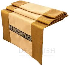 gold yellow thai elephants stripes silk satin oriental decorative