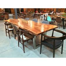 Natural Wood Dining Room Table by Acacia Natural Wood Live Edge Table Stainless Steel Square Legs