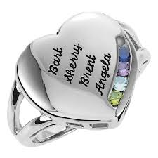 mothers rings with 4 stones gold 1 to 4 stones names engravable ring