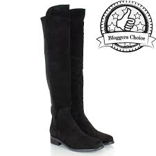 womens knee boots uk daniel black suede clyde womens flat knee boot