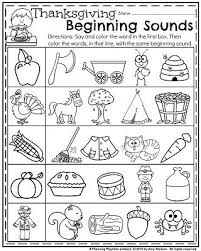 fall kindergarten worksheets for november kindergarten