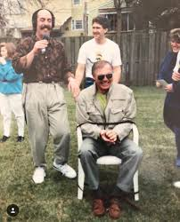 my buddies dad with adam west tied up in his backyard for a radio