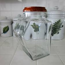 clear glass canisters for kitchen vintag clear glass canister with wooden lid by bobann23