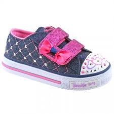 shimmer lights purple shoo girls skechers twinkle toes shuffles glitter crush denim pink light