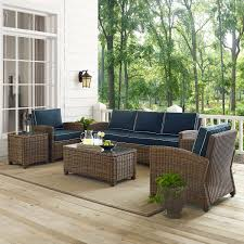 bradenton navy 5 piece outdoor wicker sofa conversation set with
