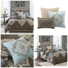 King Size Cotton Duvet Cover King Size 6 Piece Cotton Duvet Cover Set Brown Blue Damask Print