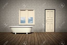 old style bathtub in a retro bathroom with plank wood floor stock