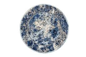 Royal Blue And White Rug 105 Inch Round Rug Royal Blue Meadow Living Spaces