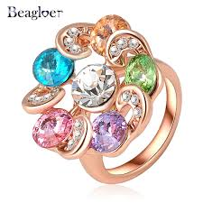 aliexpress buy beagloer new arrival ring gold beagloer unique new rings gold color colorful austrian