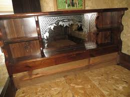 queen wood bed frame waterbed mirror u0026 shelf headboard nex
