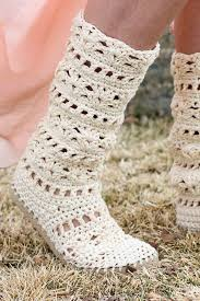 boho crochet lacy crochet boots pattern for adults made with flip flops