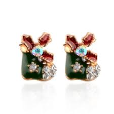 images of christmas earrings fashion crystal stockings xmas tree stud earring christmas earring