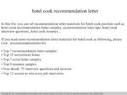 Cook Resume Sample Pdf by Hotel Cook Recommendation Letter