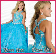 girls pageant dresses size 12 scoop ball gowns ruffle blue organza