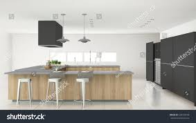 minimalistic gray kitchen wooden gray details stock illustration