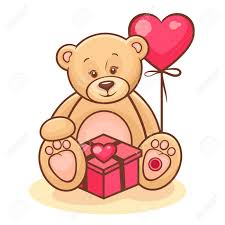 teddy in a balloon gift illustration of teddy with gift and