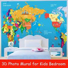 aliexpress com buy world map 3d photo murals for kids room