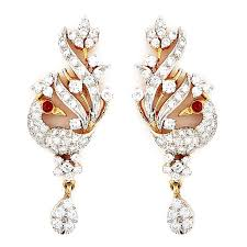 peacock design earrings earrings grt jewellers