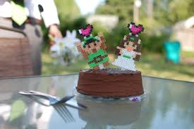 custom 8 bit sprite wedding cake topper