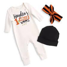 halloween body suit personalized newborn halloween romper black orange baby boy