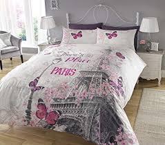 Cherry Duvet Cover Charming Cherry Blossoms Butterflies Paris Eiffel Tower Full
