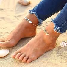 ankle bracelet images On sale falling leaves delicate ankle bracelet in silver or gold jpg
