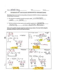 quadratic equations worksheet factoring u0026 the quadratic formula