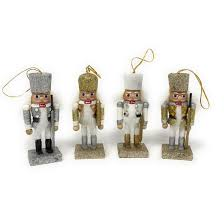 set of 4 gold silver nutcracker tree decorations
