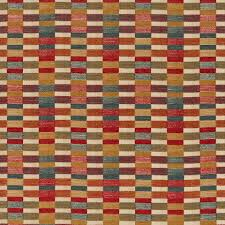 a woven upholstery fabric in a linear geometric design of red