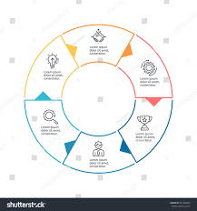 business infographics outline infographic element 6 stock vector business infographics outline infographic element with 6 steps sections arrows vector pie