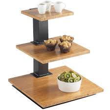 cal mil 1930 60 elevation 3 tier black riser frame with bamboo shelves