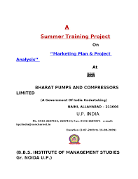 project report on marketing plan u0026 project analysis by sanjay