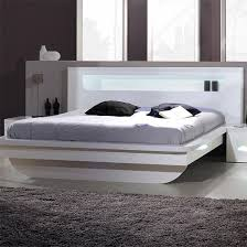 pulse high gloss eu double bed in white with led lighting double