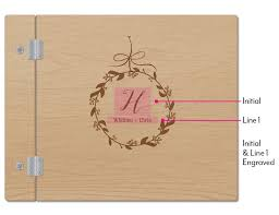 wedding guest book wooden wedding guest book botanical wreath etching the knot shop