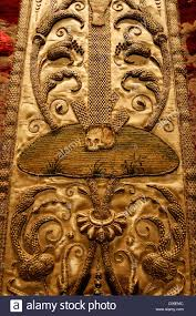 baroque ornamentation with skull artful embroidery on a chasuble